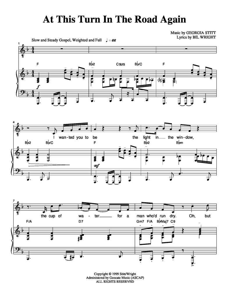 At This Turn in the Road Again | newmusicaltheatre.com | Sheet Music