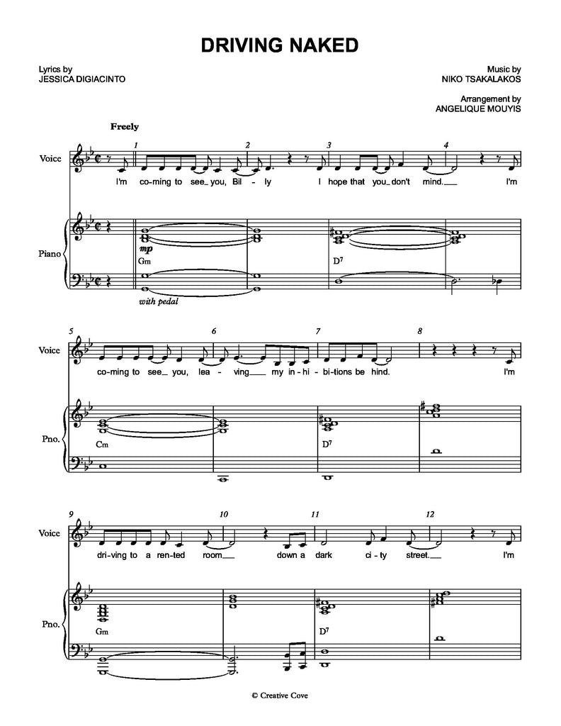 Driving Naked | newmusicaltheatre.com | Sheet Music
