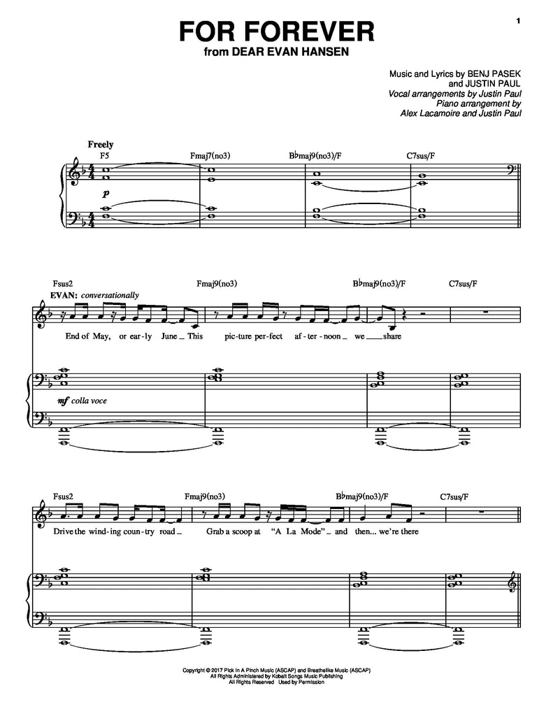 For Forever | newmusicaltheatre.com | Sheet Music