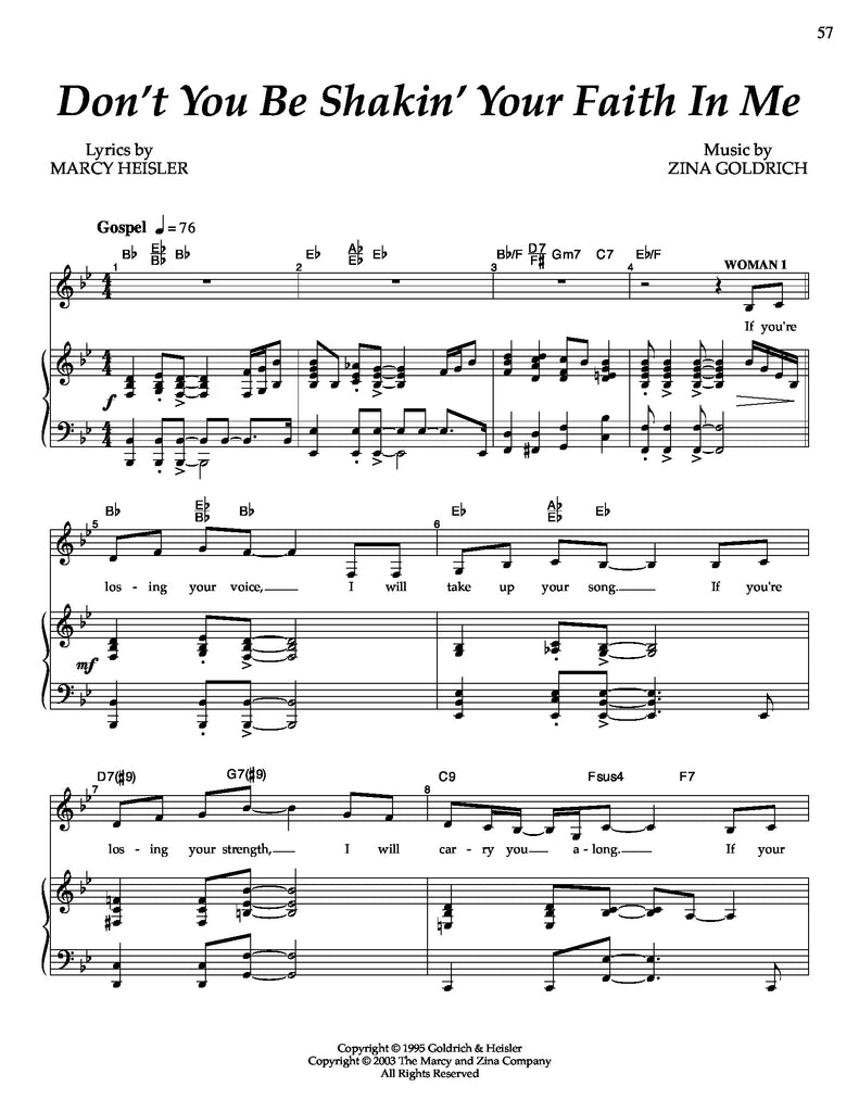 Don't You Be Shakin Your Faith In Me | newmusicaltheatre.com | Sheet Music