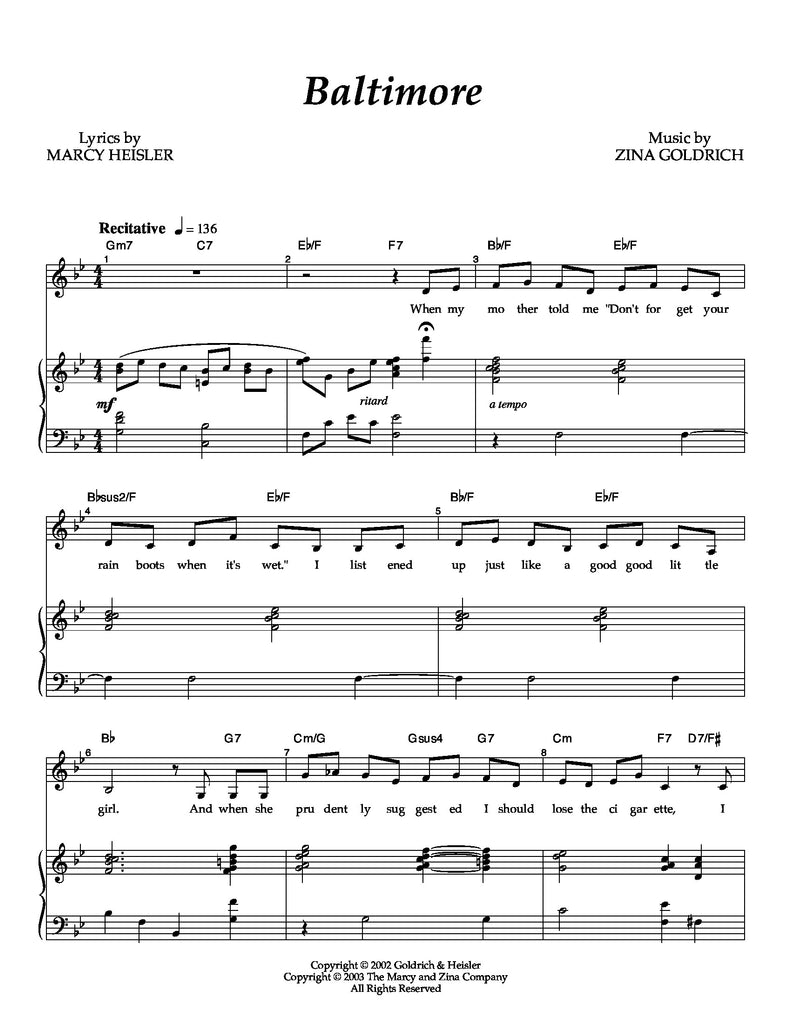 Baltimore | newmusicaltheatre.com | Sheet Music