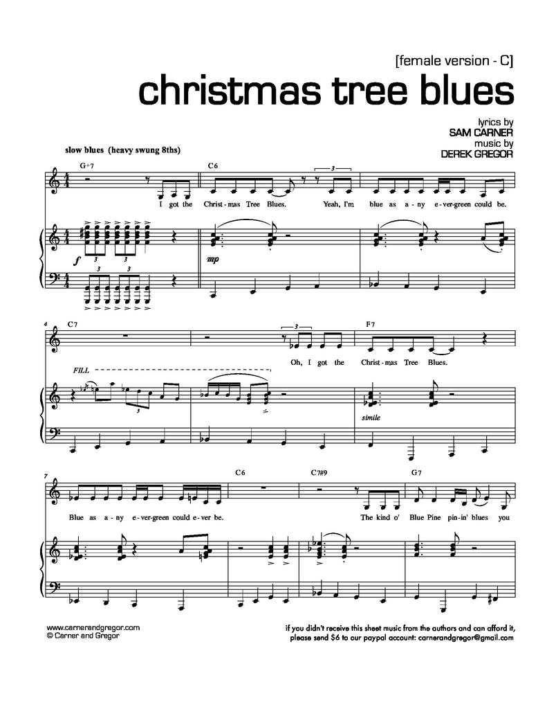 Christmas Tree Blues | newmusicaltheatre.com | Sheet Music