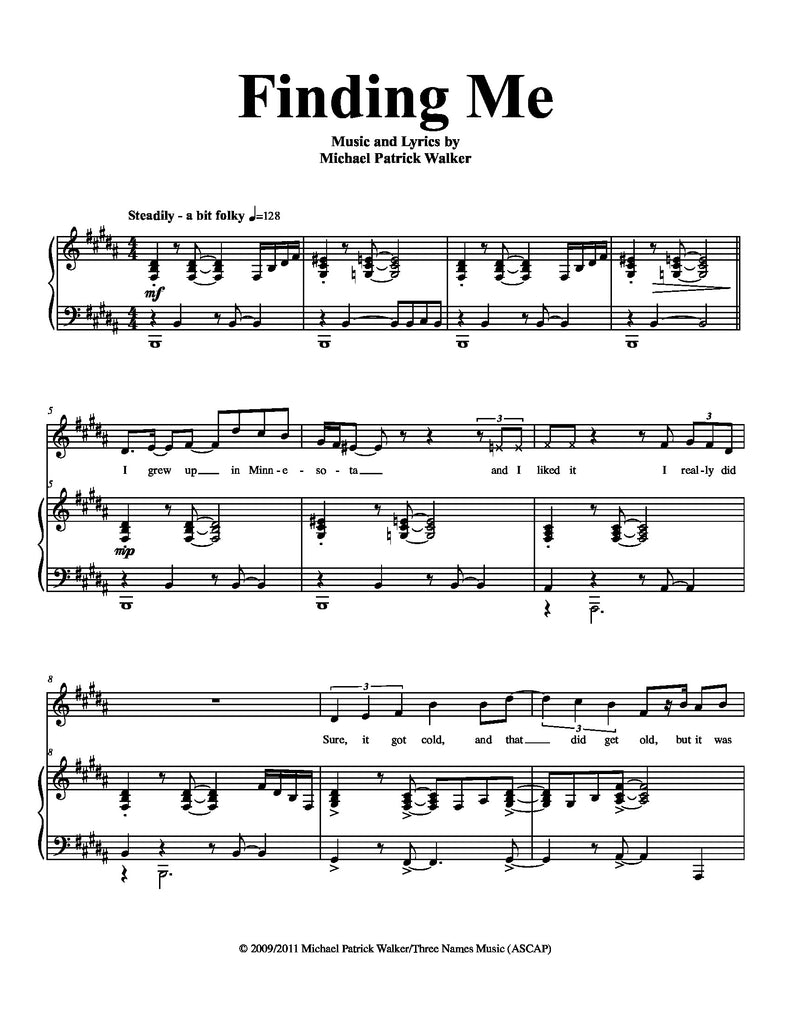 Finding Me | newmusicaltheatre.com | Sheet Music