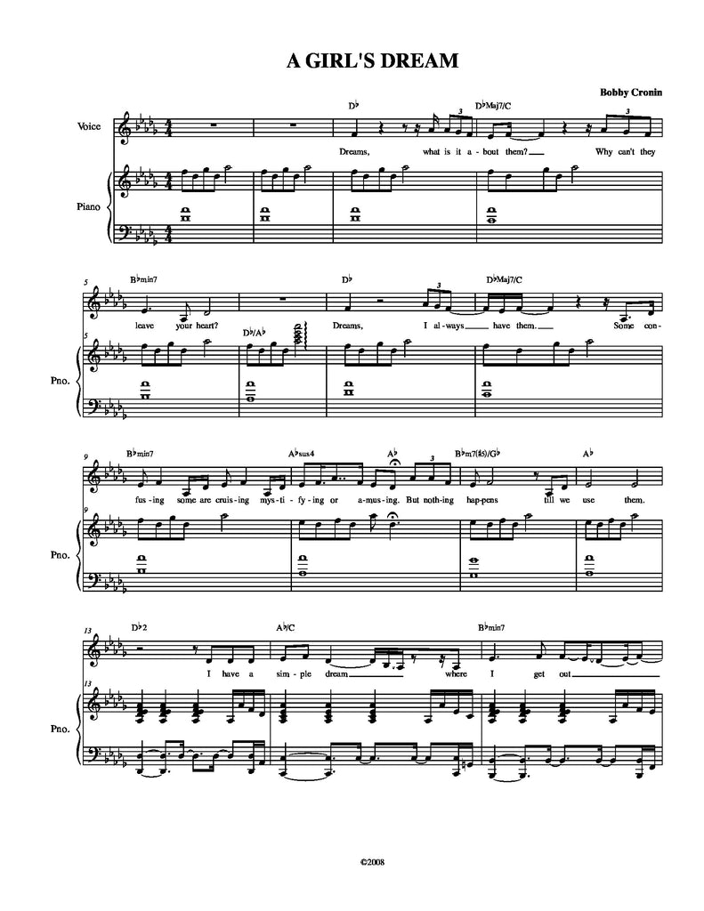 A Girl's Dream | newmusicaltheatre.com | Sheet Music