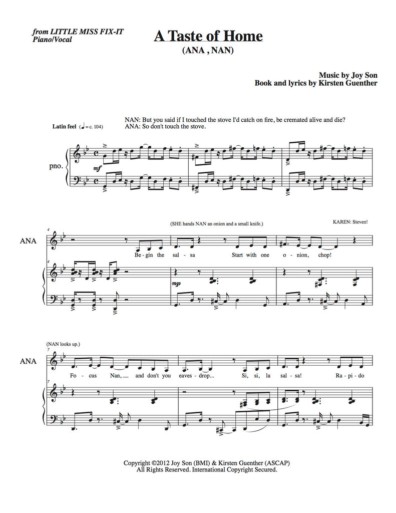 A Taste of Home | newmusicaltheatre.com | Sheet Music