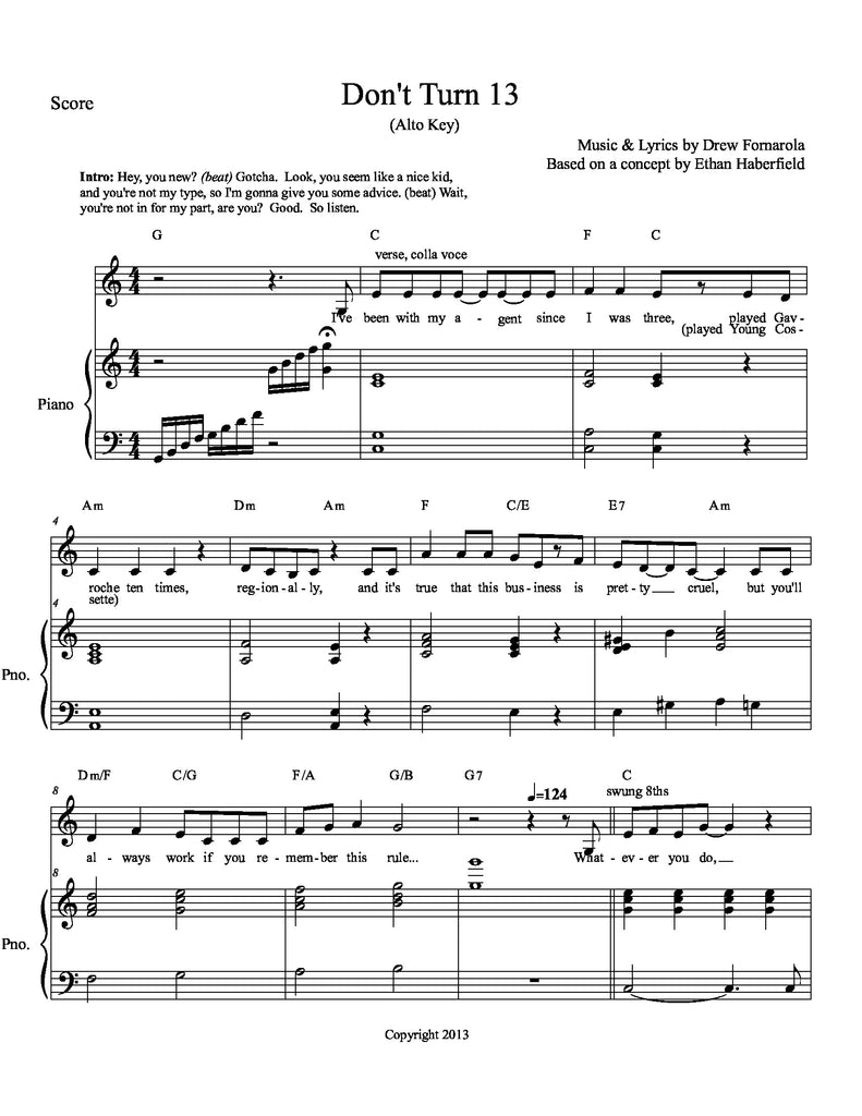 Don't Turn 13 | newmusicaltheatre.com | Sheet Music