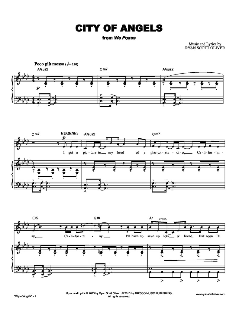 City of Angels | newmusicaltheatre.com | Sheet Music