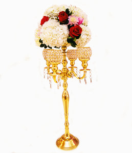 Gold Candelabra with florals wedding decor rentals