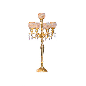 Gold Crystal Candelabra Wedding decor rentals Toronto