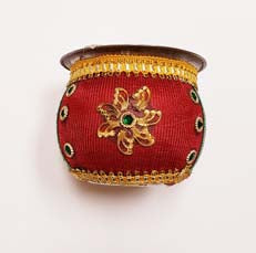 Decorative Red and Green Floral Kalash for Puja and Karva chauth
