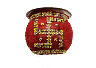 Decorative Red and Gold Swastik Kalash for Puja and Karva chauth