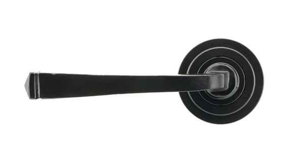 Black Avon Round Lever on Rose Set (Art Deco) - Unsprung