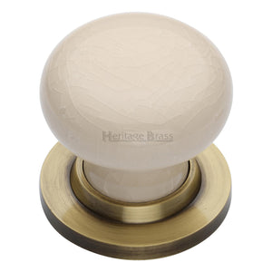 Cream Crackle Knob with base