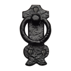 The Tudor Cabinet Ring Pull on Plate Black Iron