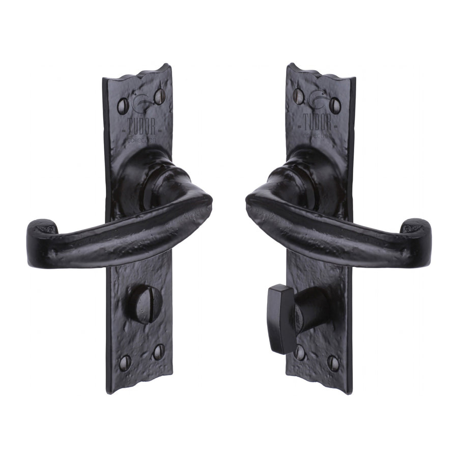 The Tudor Door Handle for Bathroom Wellington Design Black Iron