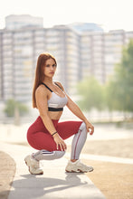 Bar Layered Workout Leggings (Dark Red/Grey)