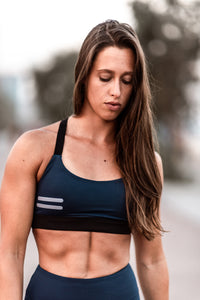 Bar Layered Workout Bra (Navy/Baby Blue)