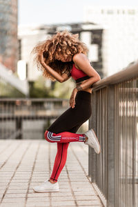 Bar Layered Workout Leggings (Black/ Maroon)