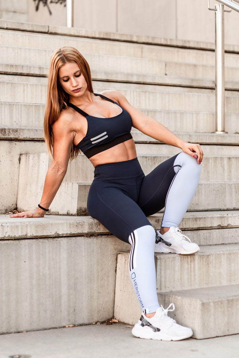 e8768f10609089 Bar Layered Workout Leggings (Navy/Baby Blue) I HERSTORM