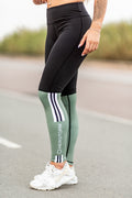 Bar Layered Workout Leggings (Black/Olive)