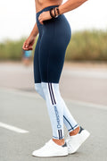 Bar Layered Workout Leggings (Navy/Baby Blue)