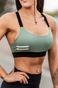 Bar Layered Workout Bra (Olive/Black)