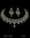 Indian CZ Necklace set tear drop Silver