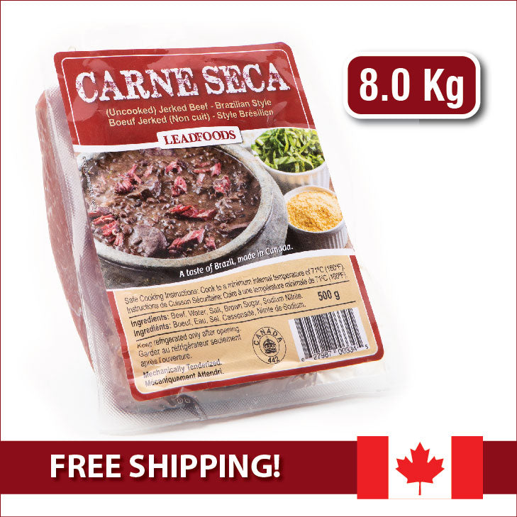 CARNE SECA - (Uncooked) JERKED BEEF / Brazilian Style - 8 kg box (16 x 500 g) CANADIAN LABEL