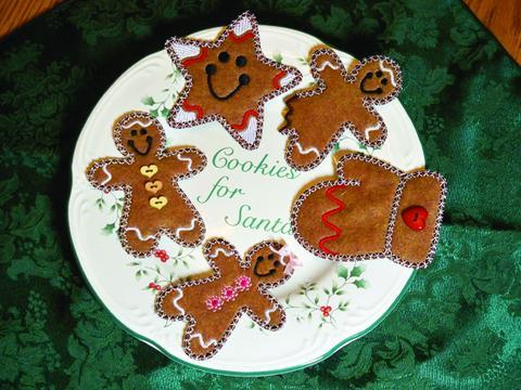 A picture of free-standing applique using Christmas cookies machine embroidery.