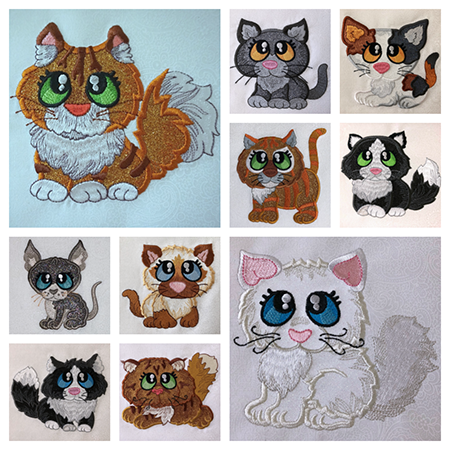 Purr-fect Buddies machine applique kitties at Sew Inspired by Bonnie