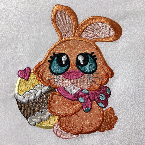 Picture of machine applique'd bunny at Sew Inspired by Bonnie