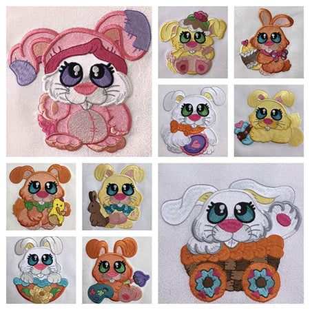 Bunny Buddies machine applique designs by Sew Inspired by Bonnie