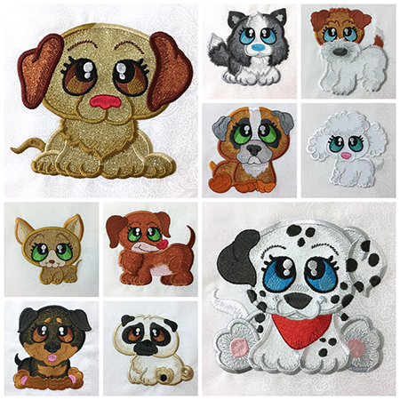 Bark Buddies machine applique pups at Sew Inspired by Bonnie