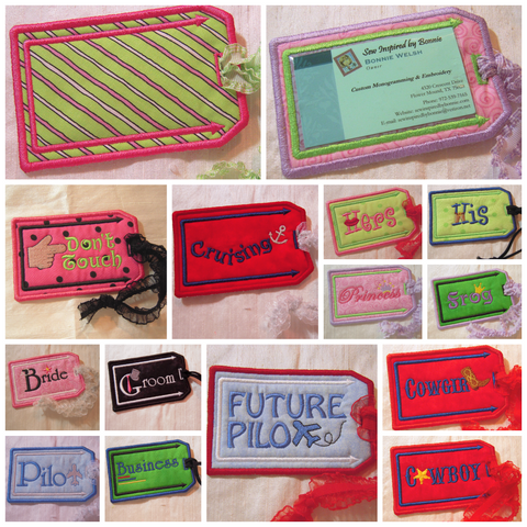 Pictured of machine embroidered Luggage Tags