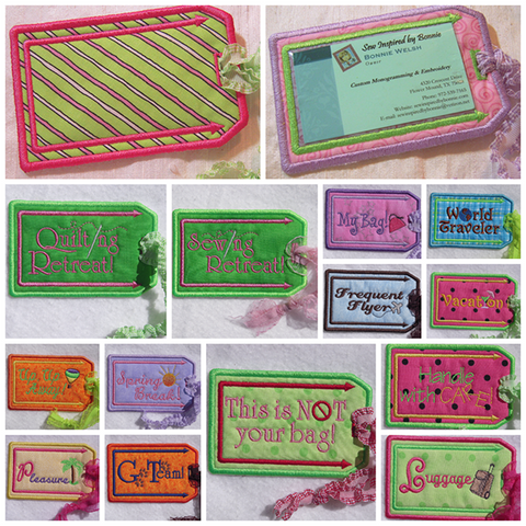 Picture of machine embroidered Luggage Tags
