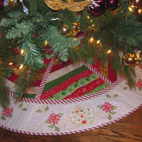 Picture of tree skirt with machine embroidery