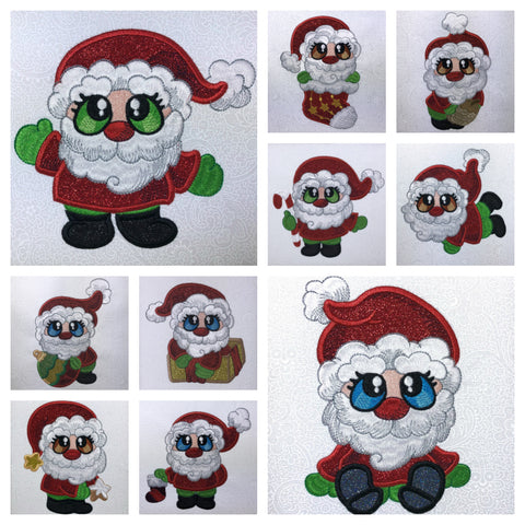 This is a picture of Santa Buddies machine applique designs at Sew Inspired by Bonnie