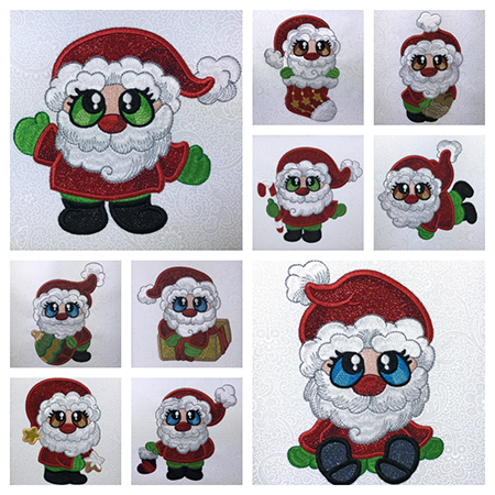 Santa Buddies machine applique designs at Sew Inspired by Bonnie