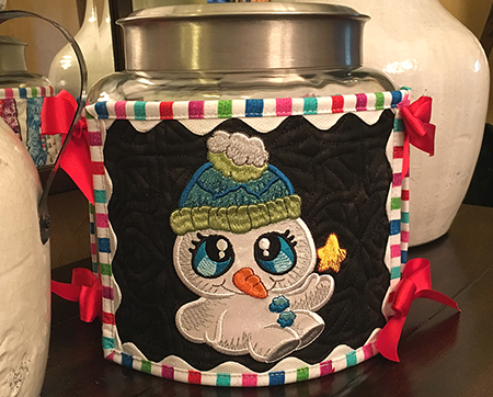 Snow Buddies free canister wrap project at Sew Inspired by Bonnie
