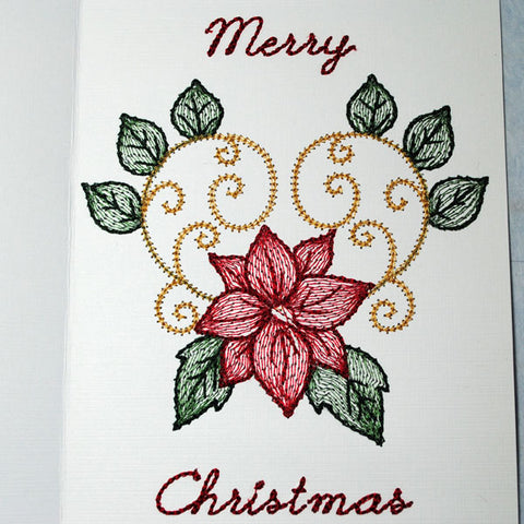 Picture of machine embroidered poinsettia on cardstock