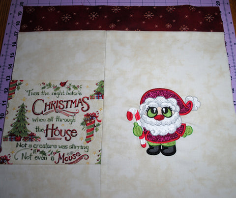 Picture of reading pillow front with Santa Buddies