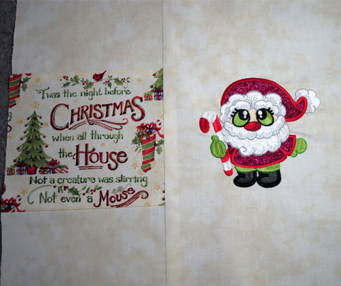 Picture of front reading pillow with Santa Buddies designs.