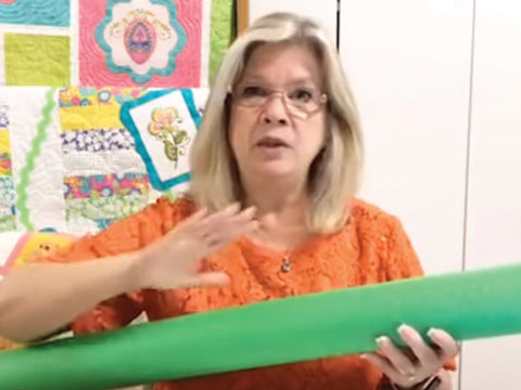 Using Pool Noodles in the Sewing Room by SewInspiredbyBonnie.com