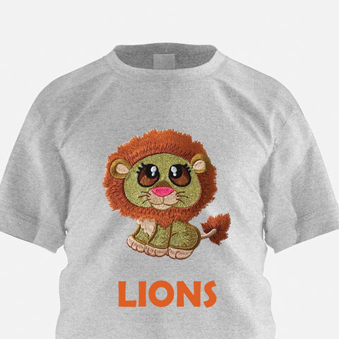 Pictures of machine appliqued lion using GlitterFlex  at Sew Inspired By Bonnie
