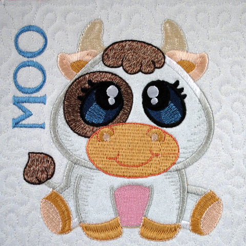 Picture of machine appliqued cow from Sew Inspired by Bonnie