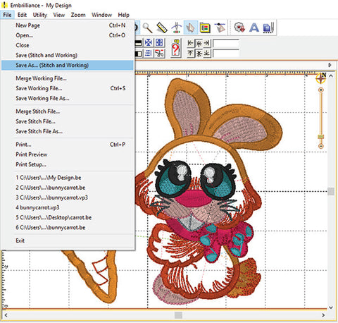 Picture of machine applique carrot and bunny designs being edited at Sew Inspired by Bonnie
