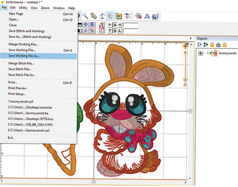 Picture of bunny machine embroidery design being edited