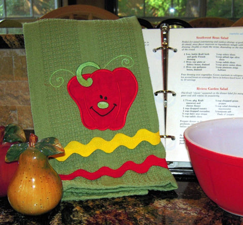 Picture of machine appliqued veggie by Sew Inspireed by Bonnie
