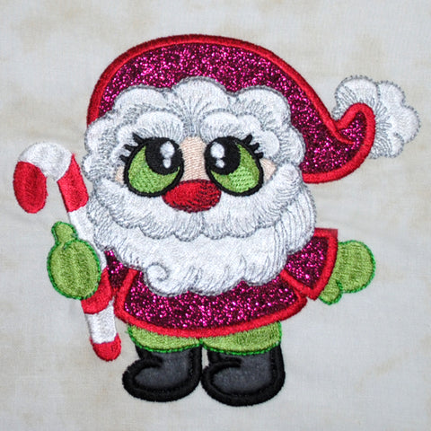 This is a picture of a machine appliqued Santa by Sew Inspired by Bonnie