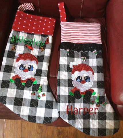 Picture of Santa Buddies from Sew Inspired by Bonnie on stockings